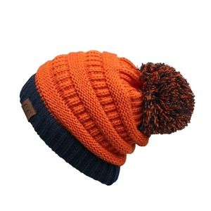 Orange and Navy Two Toned CC Beanie